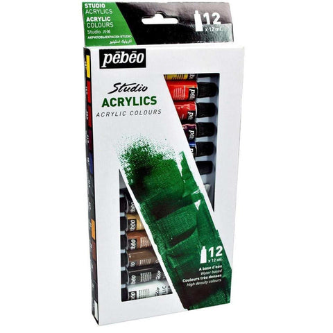 Pebeo High Viscosity Studio Acrylics - Set of 12 Colours in 12 ML Tubes price in Nepal