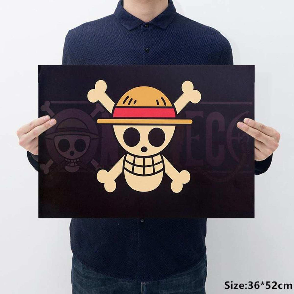 Luffy Skull One Piece Design Old Style Decorative Poster Print Wall Decals price in Nepal