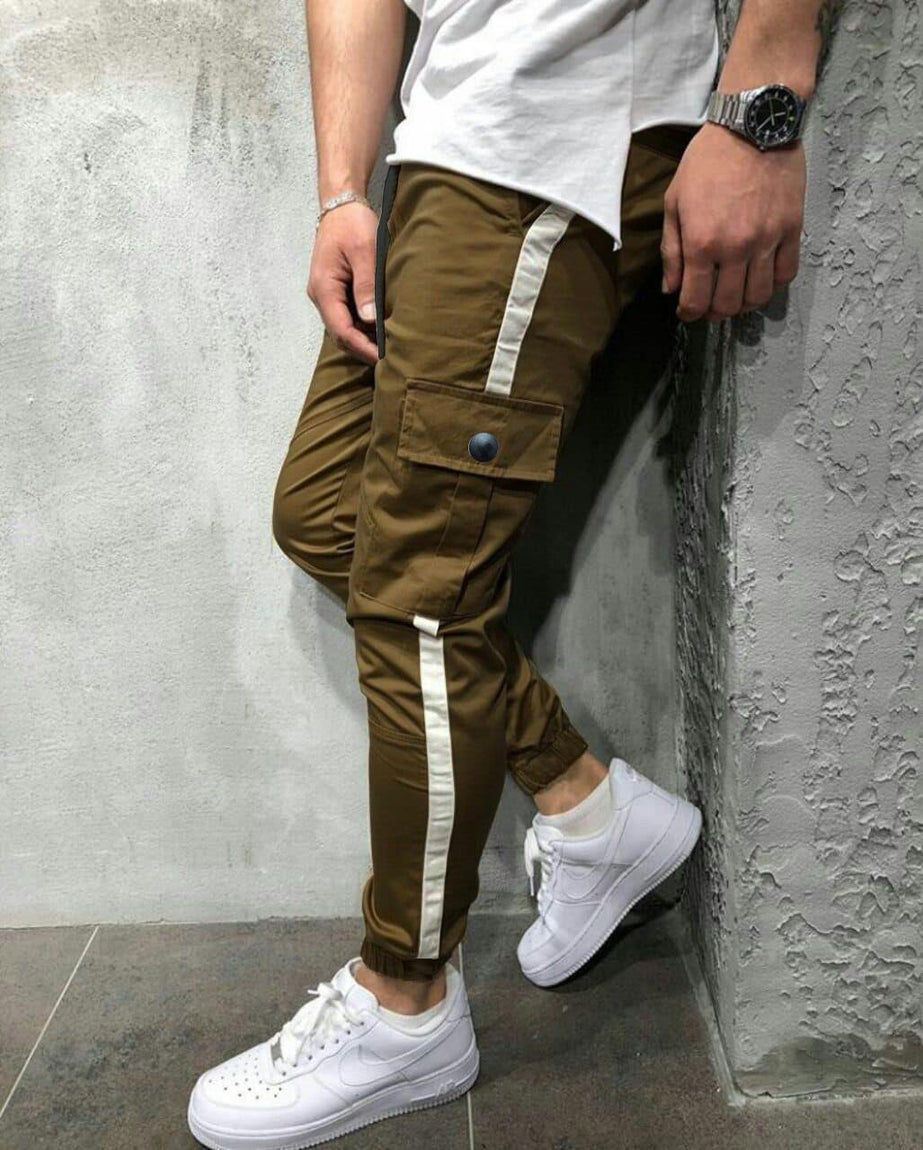 Designed Patchwork Lace-Up Men Casual Sport Pant
