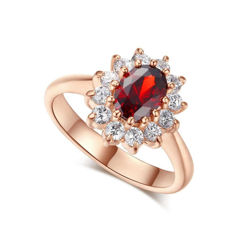 Red Crystal Rose Gold Plated Austrian Ring For Women