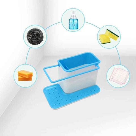 3 In 1 Plastic Sink Organizer Kitchen Soap/Sponge/Cloth And Brush Holder Accessories price in Nepal