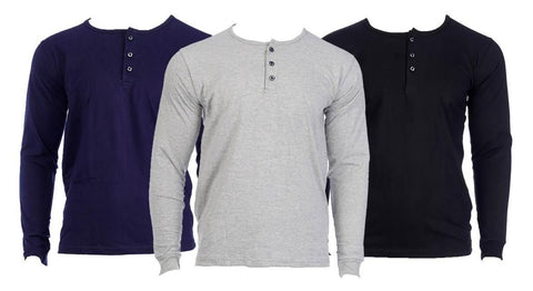 Shangrila Pack Of 3 Full Sleeve T-Shirt With Button For Men