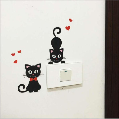 Lovely Cat Save Electricity Light Swich Removable Waterproof Wall Sticker price in Nepal\