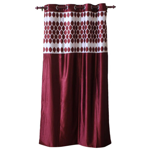 Abstract Pattern Cotton Fabric Window/Door Curtain - (Maroon/Blue)
