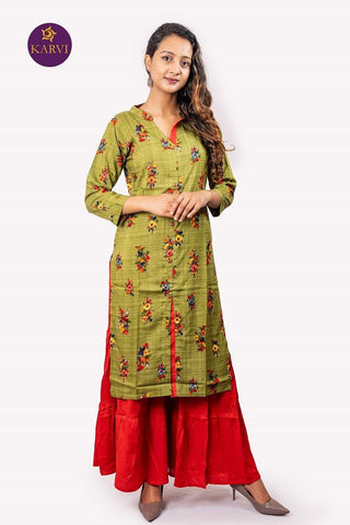 KARVI Green Floral Printed Kurti for Women price in nepal
