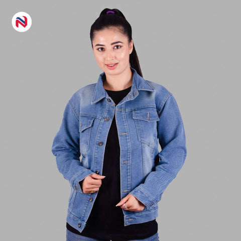 Nyptra Light Blue Oversized Premium Solid Denim Jacket For Women price in nepal