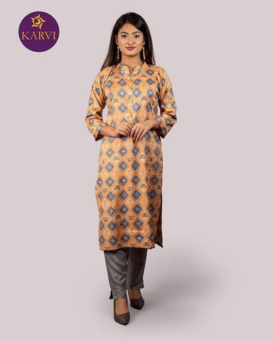 KARVI Orange & Grey Ikat pattern design Ethnic Kurti for Women with Front Button