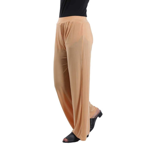 Beige Solid Wide Leg Strecthable Pant For Women price in nepal