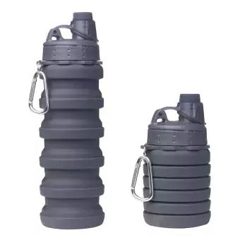 Silicone Expandable And Foldable Water Bottle 500Ml (Grey)