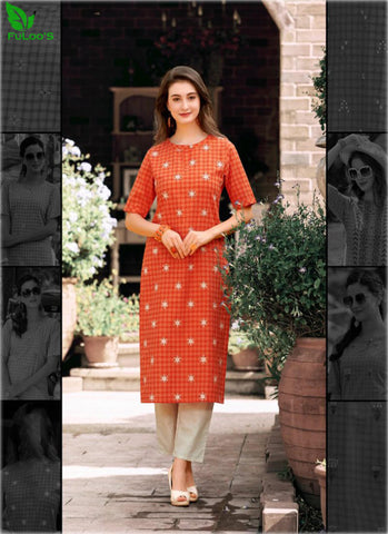 FuLoo's Theory Pure Cotton Pattern Designer Embroidered Kurti for Women #08 price in nepal