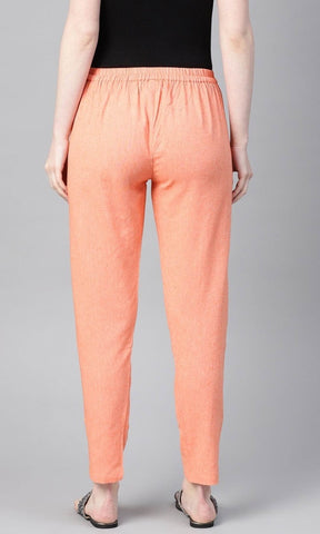 Orange Linen Solid Women'S Trousers` With Side Pocket