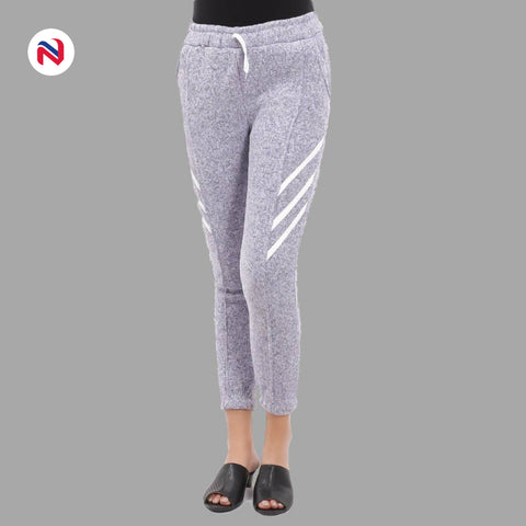 Nyptra Grey Plain/Side Stripes Inner Fleece Joggers For Women price in nepal