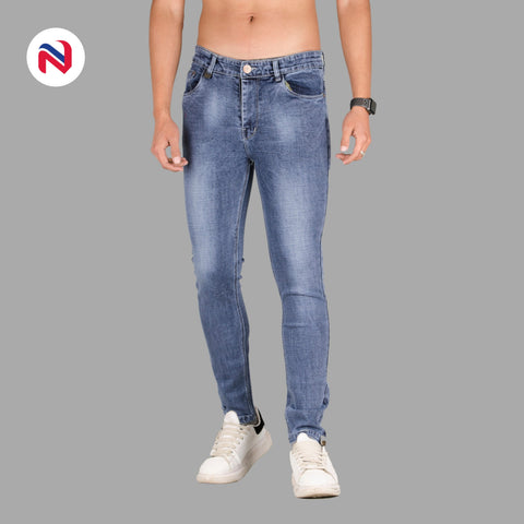 Nyptra Blue Gray Blash Stretchable Premium Jeans For Men price in nepal
