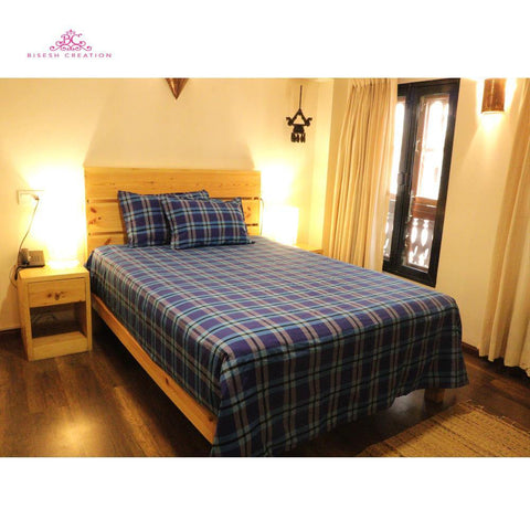 Bisesh Creation BD 06 Blue Red Checkered King Size Cotton Bed Sheet With 2 Pillow Cover Price in nepal