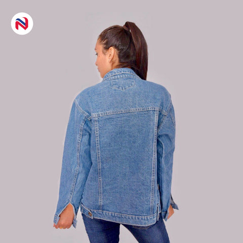 Nyptra Blue Solid Denim Jeans Jacket For Women
