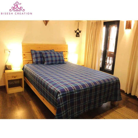 Bisesh Creation BD 06 Blue Red Checkered King Size Cotton Bed Sheet With 2 Pillow Cover