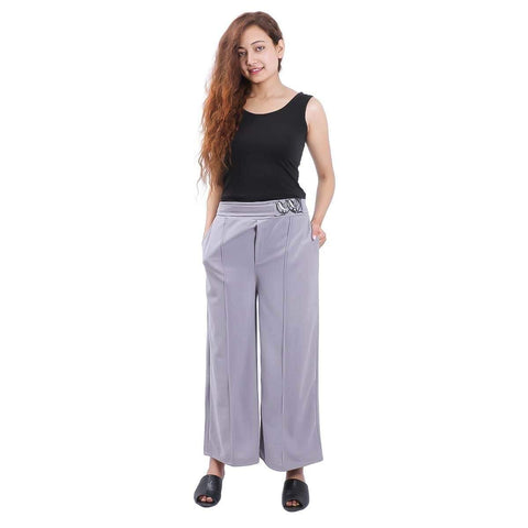 Grey Solid Wide Leg Belt Pant For Women price in nepal