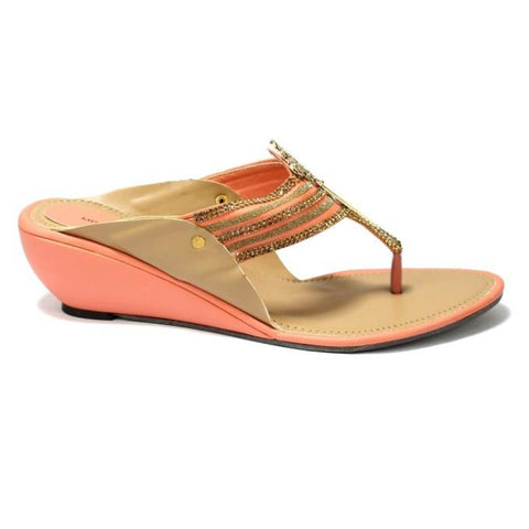 Peach/Brown V Strap Wedge Heel Shoes For Women price in nepal
