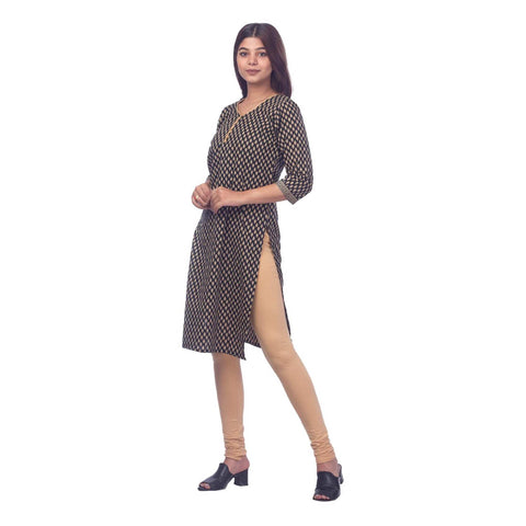 Bisesh Creation Black & Beige Jaipuri Cotton Kurti & Leggings Set For Women