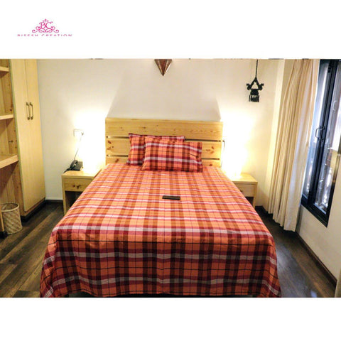 Bisesh Creation BD 01 Orange Red Checkered King Size Cotton Bed Sheet With 2 Pillow Cover