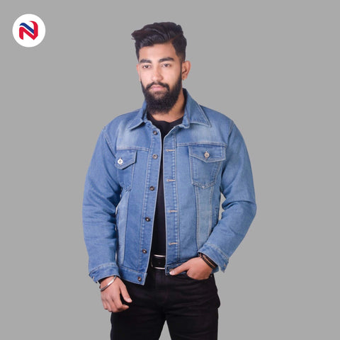 Nyptra Light Blue Solid Stretchable Denim Jeans Jacket For Men price in nepal