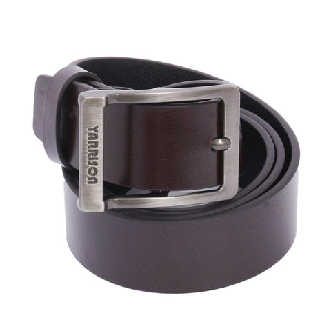 Darkbrown Solid Yarrison Carved Buckle Belt For Men Price in Nepal