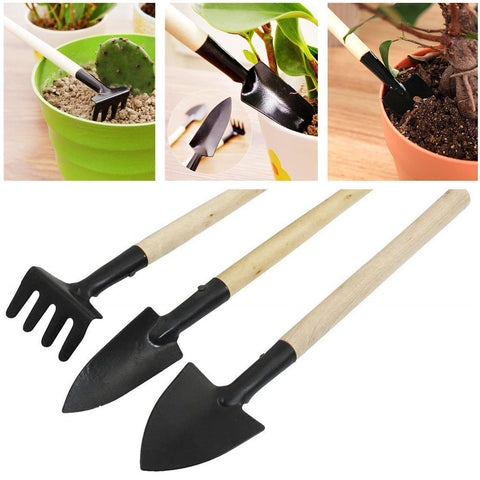Graden Tools 3pcs Set Mini Garden Tools Wooden Handle Metal Hand Rake Shovel price in Nepal