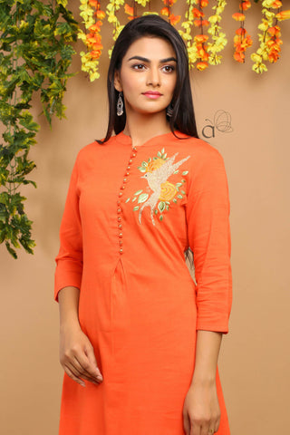 Rayon weaving embroidery work long Kurti #Orange price in nepal