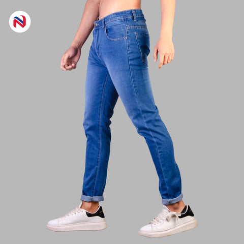 Nyptra Blue Solid Non Stretch Premium Choose Jeans For Men