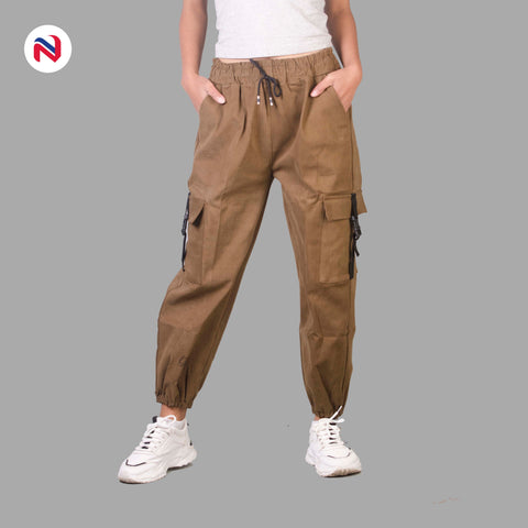 Nyptra Light Brown Cotton Inner Fleece Joggers For Women in nepal