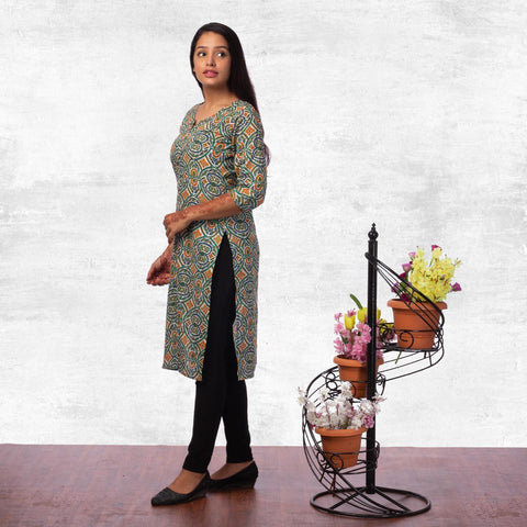 Bisesh Creation White Multicolor Front Buttoned Floral Printed Kurti For Women