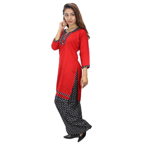Bisesh Creation Red/Black Polka Dot Alpine Kurti and Palazzo Set For Women
