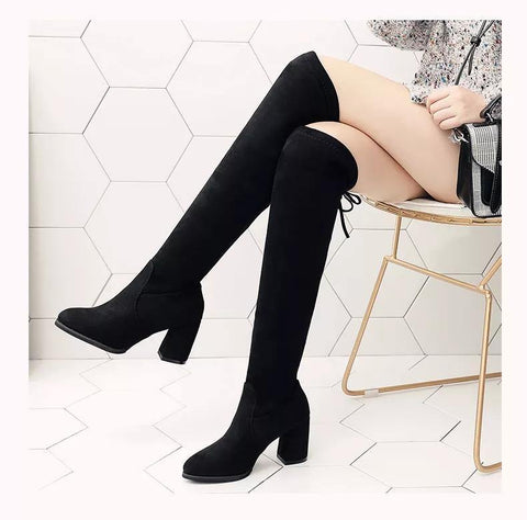 Fabulous Scrub Leather Women Fashion Hoof Heels Boots ( Nep-1)