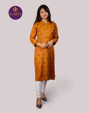 KARVI Mustard Yellow Dhaka Design Print Kurti for Women with Front Button price in Nepal