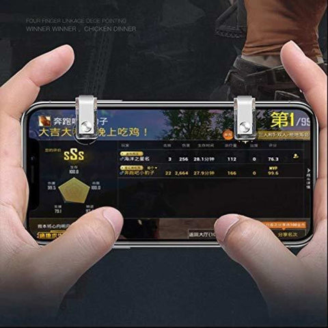 Metal Smart Mobile Phone Latest R11 Pubg Game Trigger Fire Button Aim For Pocket Game Shoot Key L1R1 Controller (Silver) price in nepal