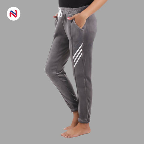 Nyptra Grey Velvet Stripes Inner Fleece Joggers For Women