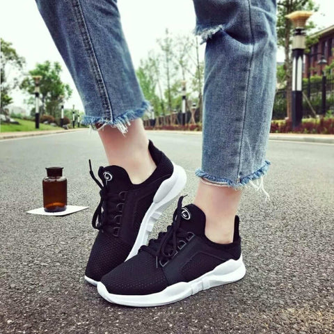 Luxury Black Color Lace Up Women Breathable Mesh Running Shoes Sneakers( 4611-3) price in nepal