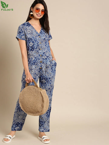 DB Women Blue & White Printed Basic Jumpsuit price in nepal