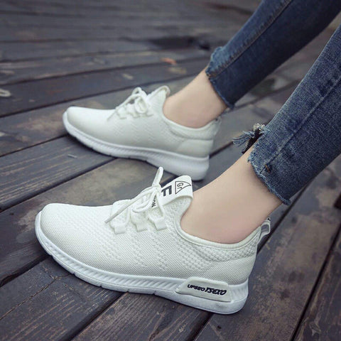 Breathable Mesh Sneakers Lace-up Thick Sole Running Shoes For  Women