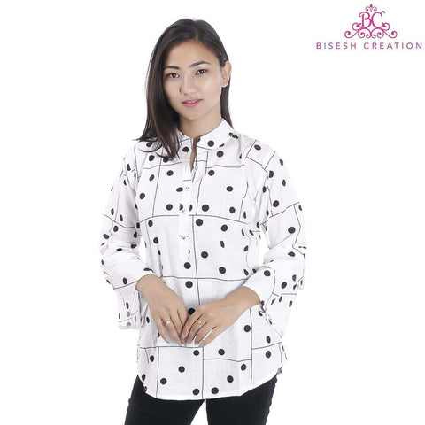 Bisesh Creation White Polka Dots Printed Mandarin Tunic For Women