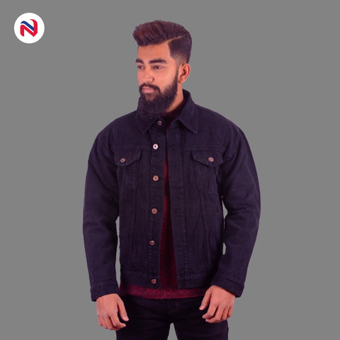 Nyptra Black Solid Denim Jeans Jacket For Men price in nepal