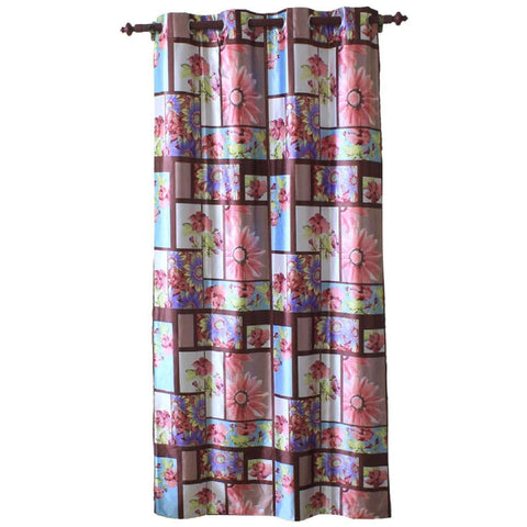 Digital Floral Printed Cotton Fabric Window/Door Curtain - (Red/Blue) price in nepal