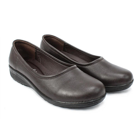 Dark Brown Matte Closed Shoes For Women (1067-1)