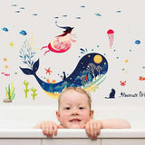 Ocean Cartoon Blue Whale Under The Sea Fishes Wall Stickers price in Nepal