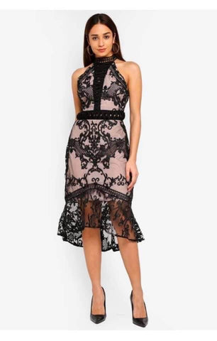 Td Casual/Partywear Halterneck Lace Dress price in nepal