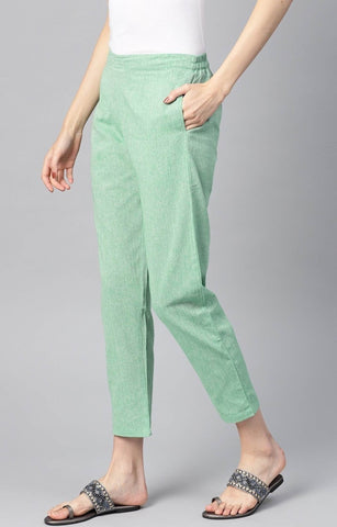 Green Linen Solid Women'S Trousers` With Side Pocket