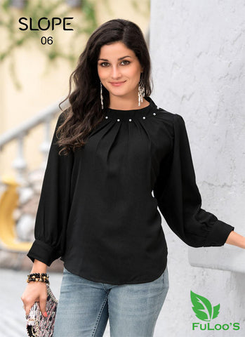 Slop Solid Western tops in Blended Fabrics (BLACK ) price in nepal