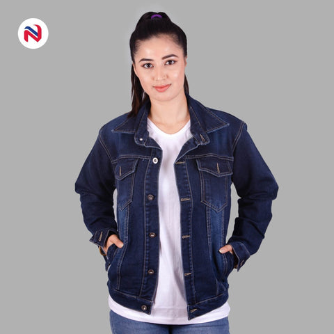 Nyptra Dark Blue Oversized Premium Solid Denim Jacket For Women price in nepal