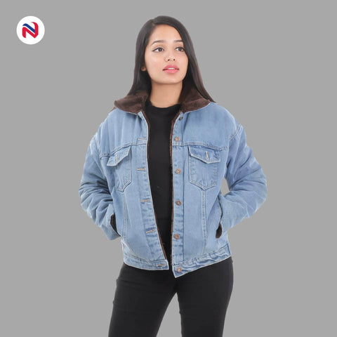 Nyptra Light Blue Solid Fur Denim Jacket For Women price in nepal