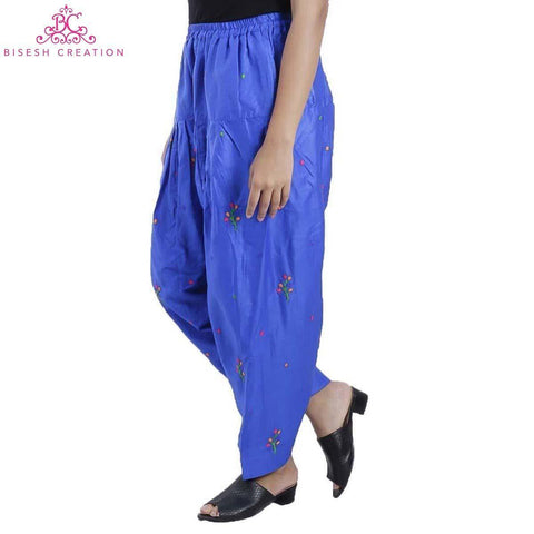 Royal Blue Chikan Panjabi Shalwar For Women